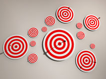 Targets. A lot of targets and arrows on wall - 3d render Stock Photo