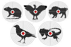Targets for animal shooting. Training shoot hunting. vector set. Stock Photo