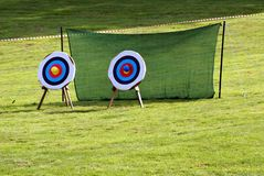 Targets. Archery. Game. Sport. recreation. leisure. Targets . archery game, sport, recreation, or leisure in a garden, playground, or a field Stock Image