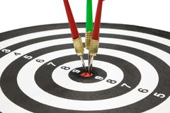 Targets with arrow in the center. Isolated targets with arrow in the center of dartboard on white background Stock Photography