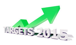 Targets 2015. Targets Arrow Up Green Positif Future 2015 Royalty Free Stock Images