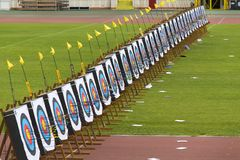 Targets with arrows at European Youth Archery Championships Royalty Free Stock Image