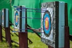 Targets at a bow shooting range Stock Photo
