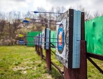 Targets at a bow shooting range Royalty Free Stock Photos