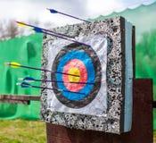 Targets at a bow shooting range Royalty Free Stock Image