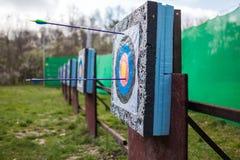 Targets at a bow shooting range Royalty Free Stock Photo