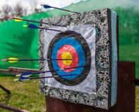 Targets at a bow shooting range Stock Image