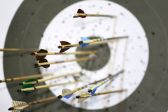 Targets at a bow shooting range with arrows in them Royalty Free Stock Photography