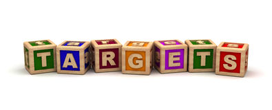 Targets Cube Text. (Computer generated image Royalty Free Stock Images