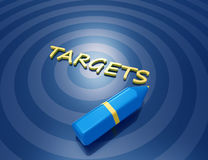 Targets 3d word concept. Blue circles Royalty Free Stock Image