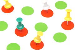 Targets. Drawing pins on the targets Royalty Free Stock Photography