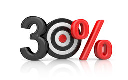 Targets form the number 100 percent. Accurate shot metaphors Royalty Free Stock Images