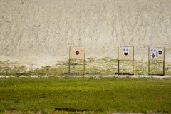 Targets at gun range. Targets at deep end of a gun range Royalty Free Stock Photos