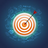 Targets with hitting darts for Business concept. Stock Photo