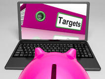 Targets Laptop Means Aims Objectives. Targets Laptop Meaning Aims Objectives And Goal setting Royalty Free Stock Image