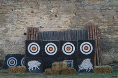 Targets in the medieval competition of archers Stock Images