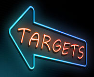 Targets neon concept. 3d Illustration depicting an illuminated neon sign with a targets concept Royalty Free Stock Images