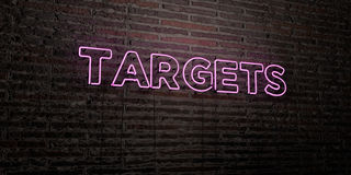 TARGETS -Realistic Neon Sign on Brick Wall background - 3D rendered royalty free stock image Royalty Free Stock Images