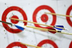 Targets in row on archery practice with arrows Royalty Free Stock Photography