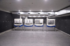 Targets for shooters at indoor shooting range underground Royalty Free Stock Image