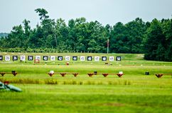 Targets for a shooting range with bulls-eye`s are lined up in a. Targets for a shooting range with bulls-eye`s  are lined up in a row Royalty Free Stock Images