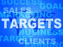 Targets Words Represents Projection Business And Aiming. Targets Words Meaning Forecast Goals And Aiming Stock Photos