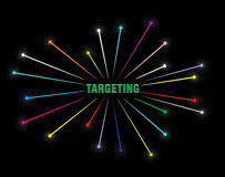 Targetting. Business strategy research concept illustration on black background Royalty Free Stock Photography