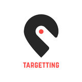 Targetting sign with pin like hook. Concept of cartography, navigate, geotagging, mapping, landmark, geography.  on white background. flat style modern brand Royalty Free Stock Photo