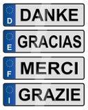 Targhe di immatricolazione europee Fotografia Stock Libera da Diritti