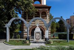 The monument of the heroes at the  Metropolitan church  on September 30, 2020 in Targoviste, Romania.
