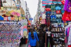 Targowa scena przy Świątynną ulicą w Hong Kong Zdjęcie Stock