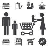 Targowe centrum handlowego i zakupy ikony ustawiać Obrazy Royalty Free