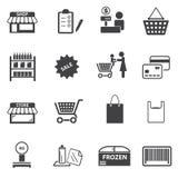 Targowe centrum handlowego i zakupy ikony ustawiać Zdjęcia Stock