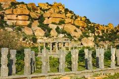 Targowy kompleks Vitthala świątynia w Hampi, India zdjęcia stock
