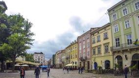 Targowy kwadrat - główny plac Lviv miasto, Ukraina zbiory