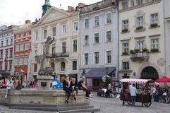 Targowy kwadrat w Lviv, Ukraina Fotografia Royalty Free