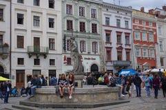 Targowy kwadrat w Lviv, Ukraina Zdjęcie Royalty Free