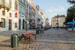 Targowy kwadrat w Lviv, Ukraina Zdjęcie Stock