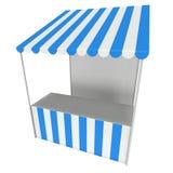 Targowy statywowy kioska kram z pasiastą markizą dla promocyjnej sprzedaży Obraz Royalty Free