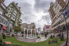 TARGU-JIU, ROMANIA-OCTOBER 08 :喷泉在2014年10月08日的市中心在Targu-Jiu 免版税库存照片