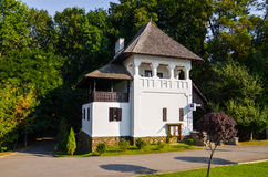 Targu Jiu Cultural Center in monument building. Brancusi Culture and Arts Center in an old historic building Targu Jiu Park Romania stock photography