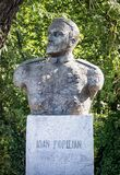 Statue of  Ioan Popilian  on  September 25, 2020 in Central Park,  Targu-Jiu. He was a Romanian hero, who defended the city in Wor