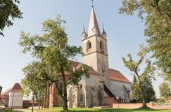 Targu Mures被改革的教会  免版税库存图片