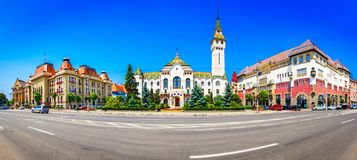 Targu-Mures, Romênia, Europa Opinião da rua do administrativo Foto de Stock Royalty Free