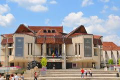 Targu Mures, Romania. July 2, 2015: View of modern architecture of the National Theatre in Targu Mures, a major city in the heart of Transylvania, Romania royalty free stock images
