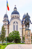Targu mures romania old town. Orthodox cathedral, avram iancu statue with horse Stock Image