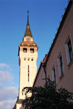 Targu Mures Transylvania Romania. Medieval watchtower looms over the streets of Targu Mures, Transylvania, Romania stock photo
