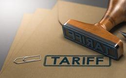 Tarif, impôts sur les marchandises importées Images stock