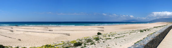 Tarifa. Beach,Spain.Panoramic view on a winter day royalty free stock images