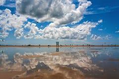 Tarifa beach in Spain with kitesurfers Stock Image